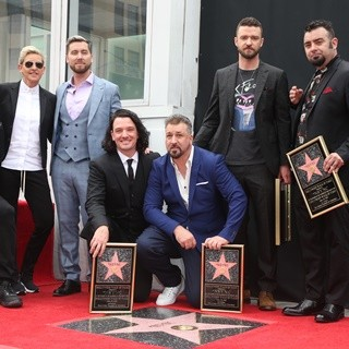 Carson Daly, Ellen DeGeneres, NSYNC, Lance Bass, JC Chasez, Joey Fatone, Justin Timberlake, Chris Kirkpatrick in NSYNC Honored with Star on The Hollywood Walk of Fame