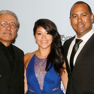 Edward James Olmos, Gina Rodriguez, Michael D. Olmos in 2012 NCLR ALMA Awards - Press Room
