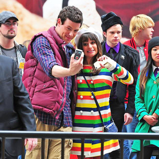 Cory Monteith, Lea Michele, Chris Colfer, Chord Overstreet, Jenna Ushkowitz in On The Set of 'Glee'