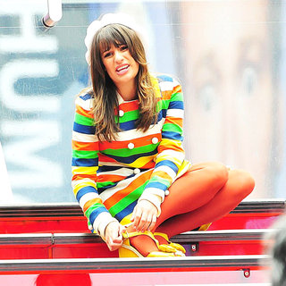 Lea Michele in On The Set of 'Glee'