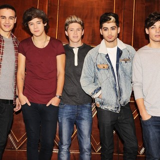 One Direction in One Direction at A Press Conference to Launch Their Album Take Me Home