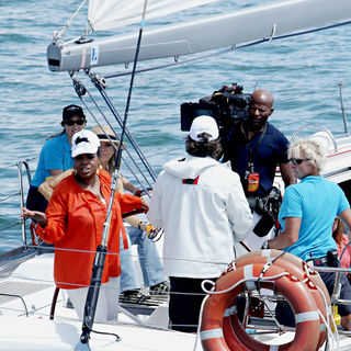 Oprah Winfrey Skippers A Yacht with Russell Crowe on Sydney Harbour