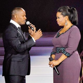 Oprah Winfrey and Jamie Foxx During Surprise Oprah A Farewell Spectacular