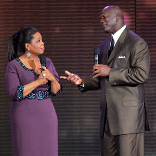 Oprah Winfrey and Michael Jordan During Surprise Oprah A Farewell Spectacular