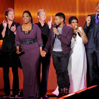 Oprah Winfrey, Usher, Aretha Franklin, Will Smith in Surprise Oprah A Farewell Spectacular
