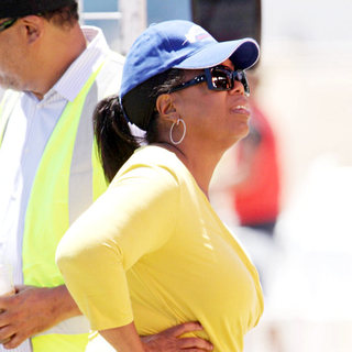 Oprah Winfrey Conducts An Inspection of The Film Set