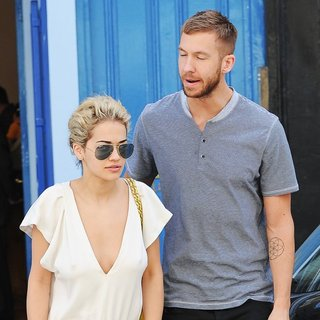 Rita Ora, Calvin Harris in Calvin Harris and Rita Ora Emerge from A Private Residence