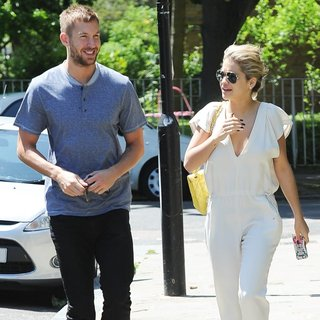 Calvin Harris, Rita Ora in Calvin Harris and Rita Ora Emerge from A Private Residence