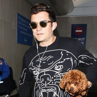 Orlando Bloom Arrives at LAX with Katy Perry's Dog Butters