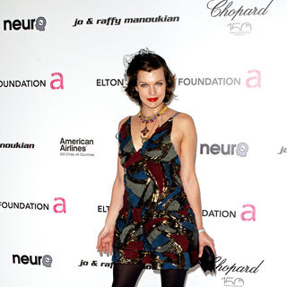 Milla Jovovich in 18th Annual Elton John AIDS Foundation Academy Awards (Oscars) Viewing Party - Arrivals