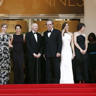 Miranda Otto, Sonja Richter, Dawn Laurel, Gilles Jacob, Tommy Lee Jones, Hilary Swank, Victoria Jones, Thierry Fremaux in The 67th Annual Cannes Film Festival - The Homesman - Premiere Arrivals