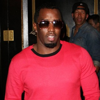 P. Diddy in Celebrities Outside Bootsy Bellows Nightclub