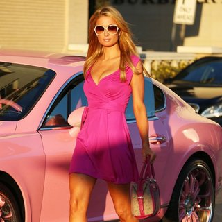 Paris Hilton in Paris Hilton Dressed in Pink Arrives at Barney's pof New York
