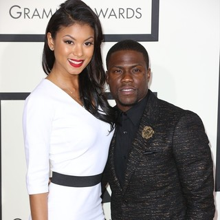 Eniko Parrish, Kevin Hart in The 56th Annual GRAMMY Awards - Arrivals