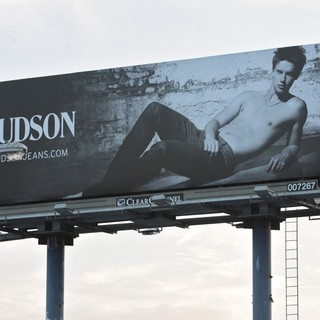 Patrick Schwarzenegger in Patrick Schwarzenegger Poses Shirtless for Hudson Jeans on A Sunset Boulevard Billboard