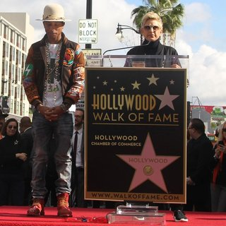 Pharrell Williams, Ellen DeGeneres in Pharrell Williams Honored with A Star on The Hollywood Walk of Fame