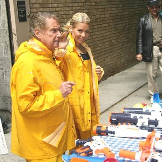Regis Philbin, Kelly Ripa in Taping Water Toys Segment Outside ABC Studios Live with Regis and Kelly Show