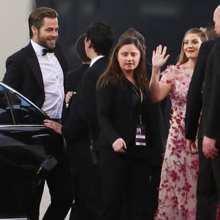 Chris Pine, Drew Barrymore in 71st Annual Golden Globe Awards - Arrivals