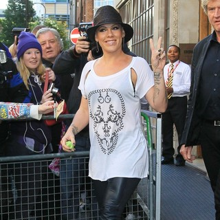 Pink in Pink Outside The BBC Radio 1 Studios