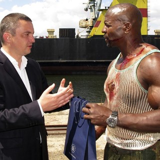 Ivan Portnih, Terry Crews in The Expendables 3 Film Set