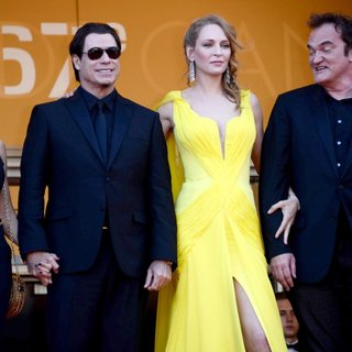 Kelly Preston, John Travolta, Uma Thurman, Quentin Tarantino, Lawrence Bender in The 67th Annual Cannes Film Festival - Clouds of Sils Maria - Premiere Arrivals