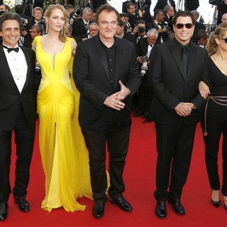 Lawrence Bender, Uma Thurman, Quentin Tarantino, John Travolta, Kelly Preston in The 67th Annual Cannes Film Festival - Clouds of Sils Maria - Premiere Arrivals