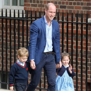 Princess Charlotte and Prince George Arrives with Prince William at Lindo Ward
