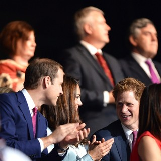 Prince William, Kate Middleton, Prince Harry in The Opening Ceremony of The London 2012 Olympic Games