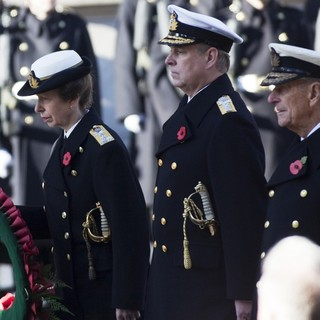 Princess Anne, Prince Andrew, Prince Philip in Sunday Commemorating Sacrifices of The Armed Forces