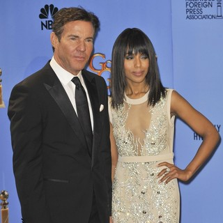 Dennis Quaid, Kerry Washington in 70th Annual Golden Globe Awards - Press Room