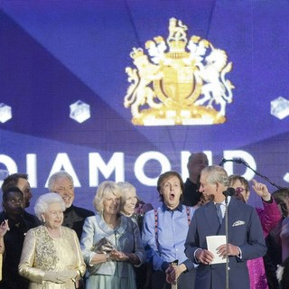Queen Elizabeth II, Tom Jones, Camilla Parker Bowles, Annie Lennox, Paul McCartney, Prince Charles, Elton John in The Diamond Jubilee Concert