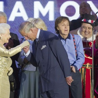 Queen Elizabeth II, Prince Charles, Paul McCartney, Elton John in The Diamond Jubilee Concert