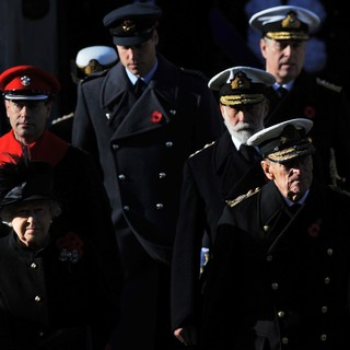 Queen Elizabeth II, Prince Edward, Prince William, Prince Michael of Kent, Prince Philip in Sunday Commemorating Sacrifices of The Armed Forces