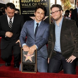 Sam Raimi, James Franco, Seth Rogen in James Franco Is Honoured with A Hollywood Star on The Hollywood Walk of Fame