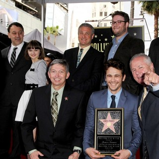 Sam Raimi, Joey King, Leron Gubler, David Green, James Franco, Seth Rogen, Tom LaBonge, Christopher Barton in James Franco Is Honoured with A Hollywood Star on The Hollywood Walk of Fame