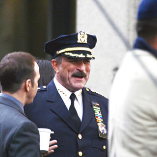 Tom Selleck in On the set of 'Reagan's Law' filming the pilot episode