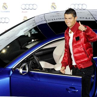 Cristiano Ronaldo in Presentation of Real Madrid's New Cars from Audi