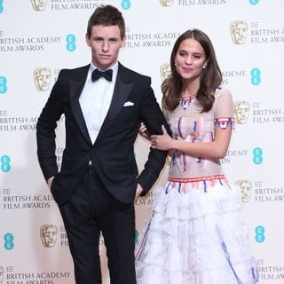 Eddie Redmayne, Alicia Vikander in EE British Academy Film Awards 2014 - Press Room