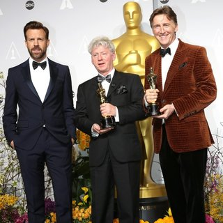 Jason Sudeikis, Malcolm Clarke, Nicholas Reed in The 86th Annual Oscars - Press Room