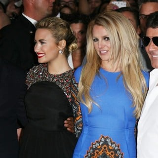 L.A. Reid, Demi Lovato, Britney Spears, Simon Cowell in The X Factor Season Two Premiere Screening and Handprint Ceremony