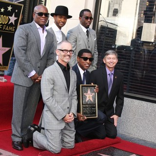 L.A. Reid, Usher, Babyface, P. Diddy, Leron Gubler in Babyface Honored with A Walk of Fame Star Ceremony