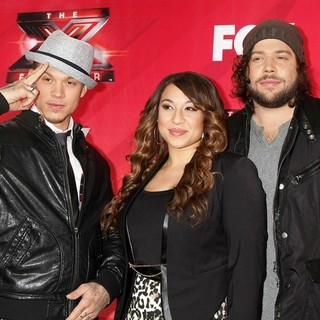 Chris Rene, Melanie Amaro, Josh Krajcik in FOX's The X Factor Press Conference