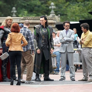 Scarlett Johansson - Actors on The Set of The Avengers Shooting on Location in Manhattan