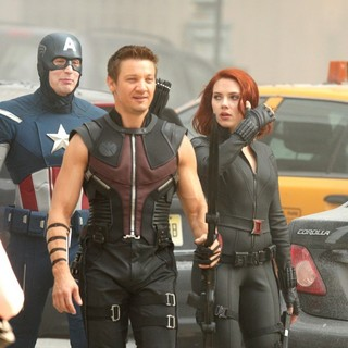 Chris Evans, Jeremy Renner, Scarlett Johansson in On The Film Set of The Avengers
