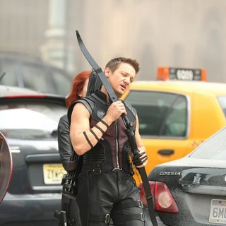 Scarlett Johansson, Jeremy Renner in On The Film Set of The Avengers