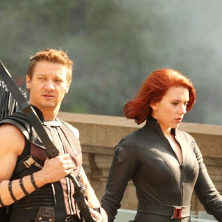 Jeremy Renner, Scarlett Johansson in On The Film Set of The Avengers