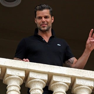 Ricky Martin in Ricky Martin Posing on A Balcony During at The Trump International Golf Club
