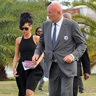 Rihanna in The Funeral of Rihanna's Grandmother Clara Braithwaite