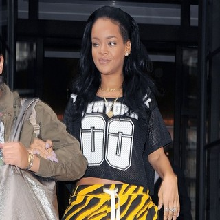 Rihanna in Rihanna Leaving Her Hotel in Tiger Print Shorts