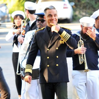 Robbie Williams in Robbie Williams Filming A Music Video for His Song Go Gentle